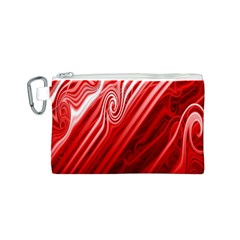 Red Abstract Swirling Pattern Background Wallpaper Canvas Cosmetic Bag (s) by Simbadda