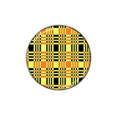 Yellow Orange And Black Background Plaid Like Background Of Halloween Colors Orange Yellow And Black Hat Clip Ball Marker (10 Pack) by Simbadda