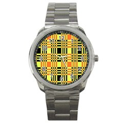 Yellow Orange And Black Background Plaid Like Background Of Halloween Colors Orange Yellow And Black Sport Metal Watch by Simbadda
