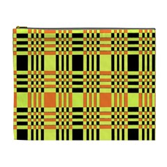 Yellow Orange And Black Background Plaid Like Background Of Halloween Colors Orange Yellow And Black Cosmetic Bag (xl)