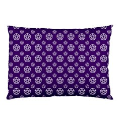 Deep Purple White Pentacle Pagan Wiccan Pillow Case (two Sides) by cheekywitch