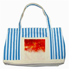 Abstract Love Heart Design Striped Blue Tote Bag by Simbadda
