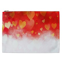 Abstract Love Heart Design Cosmetic Bag (xxl)  by Simbadda