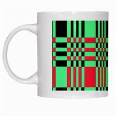 Bright Christmas Abstract Background Christmas Colors Of Red Green And Black Make Up This Abstract White Mugs by Simbadda