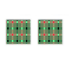 Bright Christmas Abstract Background Christmas Colors Of Red Green And Black Make Up This Abstract Cufflinks (square) by Simbadda
