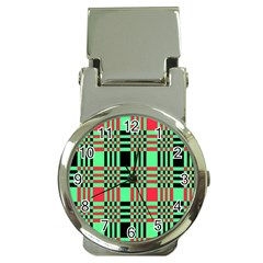 Bright Christmas Abstract Background Christmas Colors Of Red Green And Black Make Up This Abstract Money Clip Watches by Simbadda