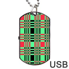 Bright Christmas Abstract Background Christmas Colors Of Red Green And Black Make Up This Abstract Dog Tag Usb Flash (two Sides) by Simbadda