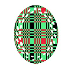 Bright Christmas Abstract Background Christmas Colors Of Red Green And Black Make Up This Abstract Oval Filigree Ornament (two Sides) by Simbadda