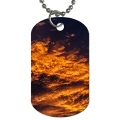 Abstract Orange Black Sunset Clouds Dog Tag (two Sides) by Simbadda