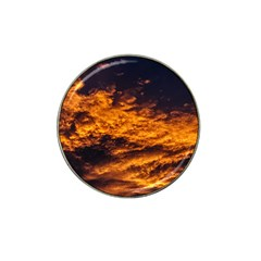 Abstract Orange Black Sunset Clouds Hat Clip Ball Marker by Simbadda