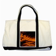 Abstract Orange Black Sunset Clouds Two Tone Tote Bag by Simbadda