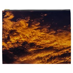Abstract Orange Black Sunset Clouds Cosmetic Bag (xxxl)  by Simbadda