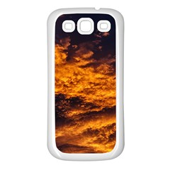 Abstract Orange Black Sunset Clouds Samsung Galaxy S3 Back Case (white) by Simbadda