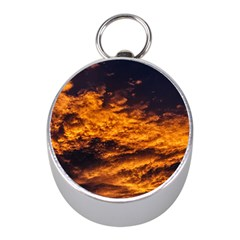 Abstract Orange Black Sunset Clouds Mini Silver Compasses by Simbadda