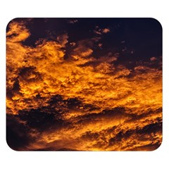 Abstract Orange Black Sunset Clouds Double Sided Flano Blanket (small)  by Simbadda