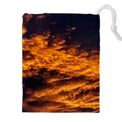 Abstract Orange Black Sunset Clouds Drawstring Pouches (xxl) by Simbadda