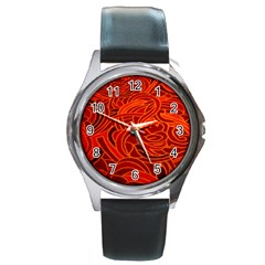 Orange Abstract Background Round Metal Watch by Simbadda
