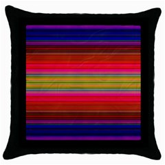 Fiesta Stripe Bright Colorful Neon Stripes Cinco De Mayo Background Throw Pillow Case (black) by Simbadda