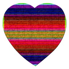 Fiesta Stripe Bright Colorful Neon Stripes Cinco De Mayo Background Jigsaw Puzzle (heart) by Simbadda