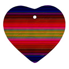 Fiesta Stripe Bright Colorful Neon Stripes Cinco De Mayo Background Heart Ornament (two Sides) by Simbadda