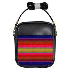 Fiesta Stripe Bright Colorful Neon Stripes Cinco De Mayo Background Girls Sling Bags by Simbadda