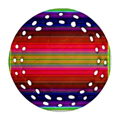 Fiesta Stripe Bright Colorful Neon Stripes Cinco De Mayo Background Round Filigree Ornament (two Sides) by Simbadda