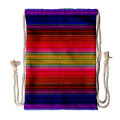 Fiesta Stripe Bright Colorful Neon Stripes Cinco De Mayo Background Drawstring Bag (large) by Simbadda