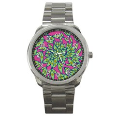 Big Growth Abstract Floral Texture Sport Metal Watch by Simbadda
