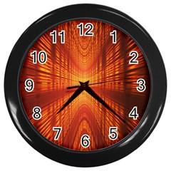 Abstract Wallpaper With Glowing Light Wall Clocks (black) by Simbadda
