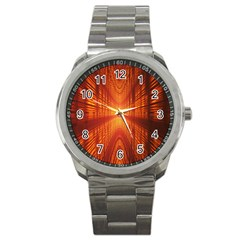 Abstract Wallpaper With Glowing Light Sport Metal Watch by Simbadda