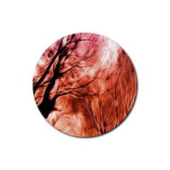 Fire In The Forest Artistic Reproduction Of A Forest Photo Rubber Round Coaster (4 Pack)