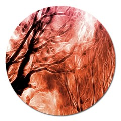Fire In The Forest Artistic Reproduction Of A Forest Photo Magnet 5  (round) by Simbadda