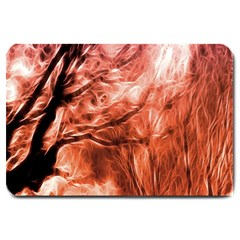 Fire In The Forest Artistic Reproduction Of A Forest Photo Large Doormat  by Simbadda