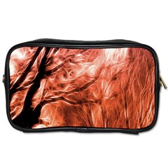 Fire In The Forest Artistic Reproduction Of A Forest Photo Toiletries Bags by Simbadda