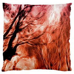 Fire In The Forest Artistic Reproduction Of A Forest Photo Large Cushion Case (two Sides) by Simbadda