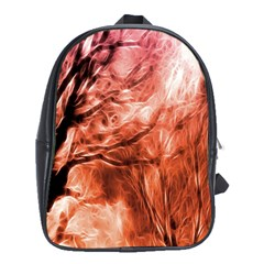 Fire In The Forest Artistic Reproduction Of A Forest Photo School Bags (xl)  by Simbadda