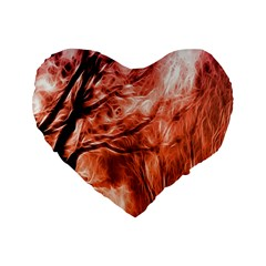 Fire In The Forest Artistic Reproduction Of A Forest Photo Standard 16  Premium Flano Heart Shape Cushions by Simbadda