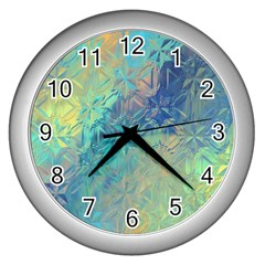 Colorful Patterned Glass Texture Background Wall Clocks (silver)  by Simbadda