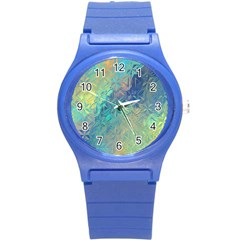 Colorful Patterned Glass Texture Background Round Plastic Sport Watch (s) by Simbadda