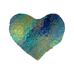 Colorful Patterned Glass Texture Background Standard 16  Premium Flano Heart Shape Cushions by Simbadda