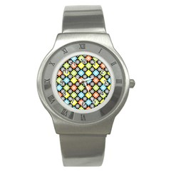 Diamond Argyle Pattern Colorful Diamonds On Argyle Style Stainless Steel Watch by Simbadda