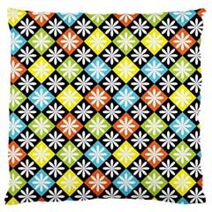 Diamond Argyle Pattern Colorful Diamonds On Argyle Style Large Cushion Case (two Sides) by Simbadda