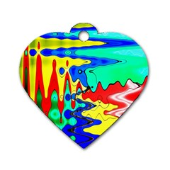 Bright Colours Abstract Dog Tag Heart (one Side) by Simbadda