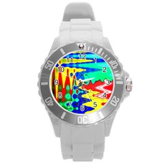Bright Colours Abstract Round Plastic Sport Watch (l) by Simbadda