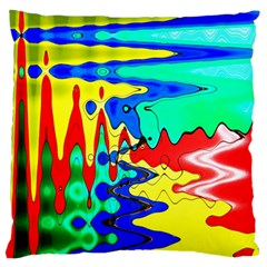 Bright Colours Abstract Large Flano Cushion Case (two Sides) by Simbadda