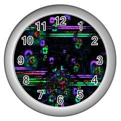 Digital Painting Colorful Colors Light Wall Clocks (silver)  by Simbadda