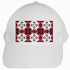 Seamless Abstract Pattern With Red Elements Background White Cap by Simbadda