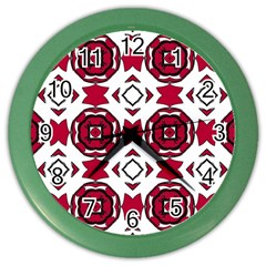 Seamless Abstract Pattern With Red Elements Background Color Wall Clocks by Simbadda
