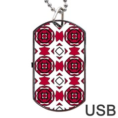 Seamless Abstract Pattern With Red Elements Background Dog Tag Usb Flash (two Sides) by Simbadda
