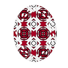 Seamless Abstract Pattern With Red Elements Background Oval Filigree Ornament (two Sides) by Simbadda